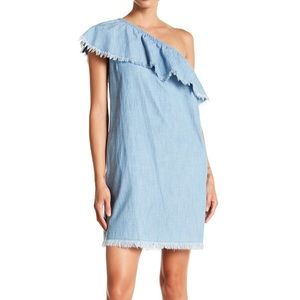 Vince camuto one shoulder chambray ruffle dress